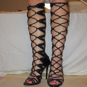 ZARA Black Leather Sandal Boot Heels